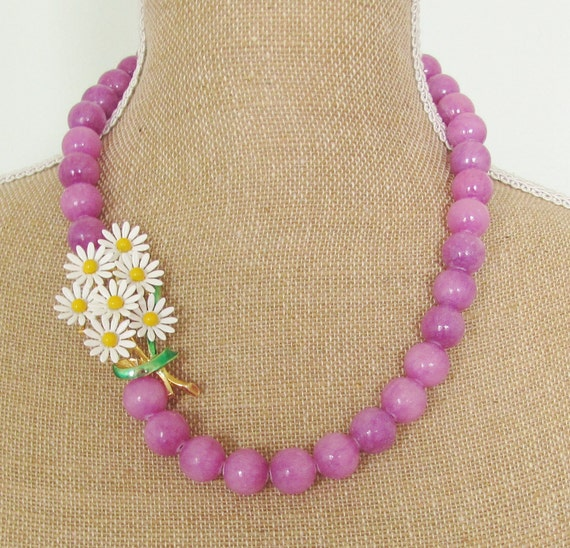 Vintage Enamel Daisy Flower Cluster Asymmetrical Chunky Lavender Purple Dyed Jade One of a Kind Necklace