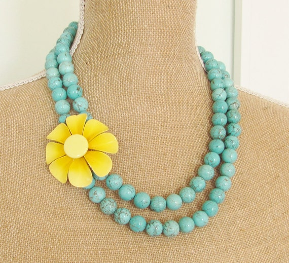 Vintage Bright Yellow Enamel Flower Necklace Asymmetrical Double Strand Turquoise Howlite Statement Necklace OOAK