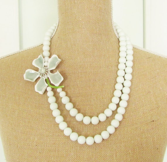 Vintage Enamel Flower Necklace Sage Green and Crisp White Asymmetrical Double Strand Glass Beaded Statement Necklace OOAK