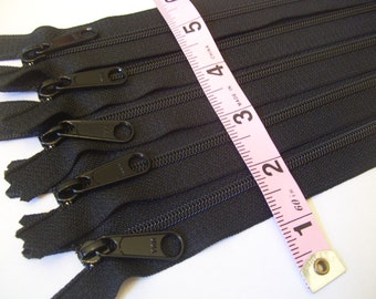 9 inch zippers, black, Ten pcs, YKK Handbag Wristlet zippers with extra long pull, 4.5 mm nylon coil