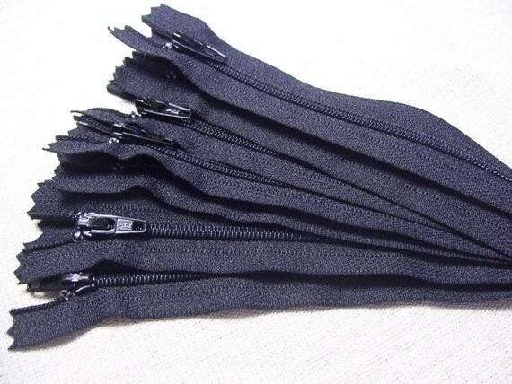 Ten black 16 Inch YKK zippers