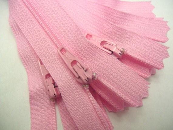 Pink Zippers - Ten 4 inch light pink YKK zippers - YKK color 513