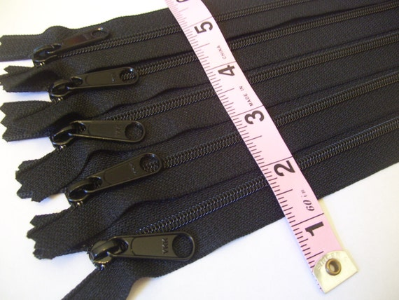 Five black 9 inch  Handbag YKK zippers with extra long pull - nylon coil 4.5 - SALE