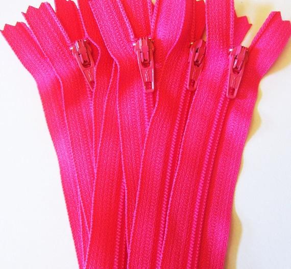 Ten 9 inch Hot Pink YKK zippers - YKK hot pink color 516