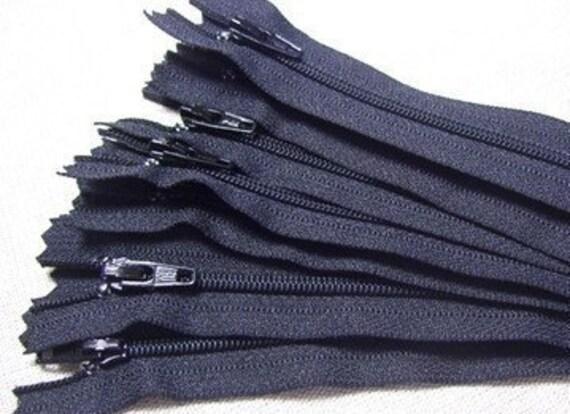 Ten black 10 inch YKK zippers