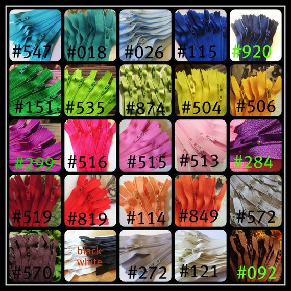 4 inch zippers - pick your own colors - 15 zippers - red, pink, blue, green, yellow, purple, brown, black, white, beige, navy, and more
