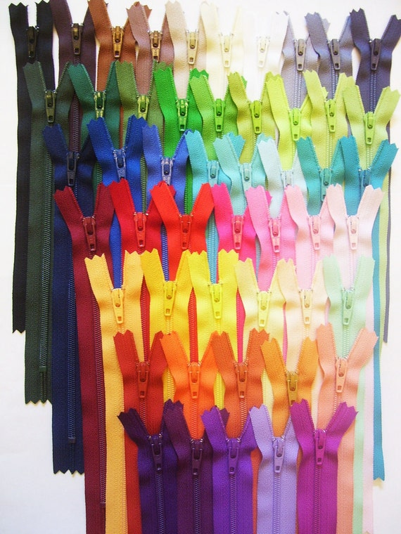 Zippers - Instant 7 inch Zipper collection - Make your own YKK zipper color card - 50 colors