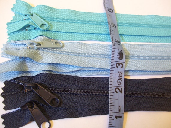 Seven blue 9 inch YKK Hand bag zippers with extra long pull