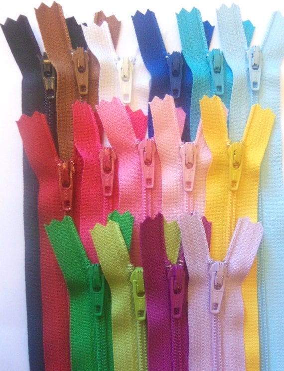 SALE - 9 Inch zippers - 15 YKK zippers - black, brown, white, royal blue, aqua, red, pink, sunflower, green, kiwi, purple fuchsia, and more