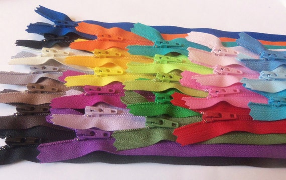 Sale - Twenty-five 10 inch YKK zippers - neutrals, navy, royal blue, purple, yellow, orange, green, turquoise, red, pink, blues