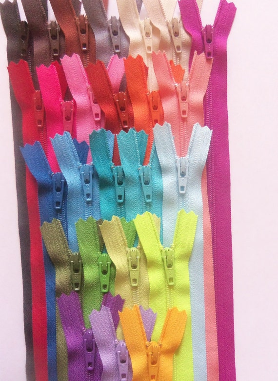 Twenty five 12 inch YKK zippers - black, brown, grey, beige, vanilla, red, pink, orange, blue, aqua, green, lime, purple, sunflower