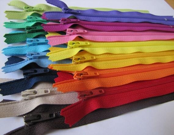 6 inch Zippers - 15 zipper assortment - brown, beige, navy, blue, aqua, green, red, orange, yellow, pink, purple