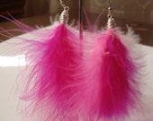 Pink Feather Earrings, Burlesque Inspired, Silver, Fuschia
