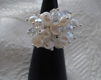 Pearl and Crystal Ring/ Bridal Ring/ Cocktail Ring/ Silver Adjustable Ring