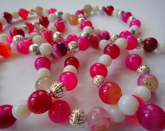 Bright Pink Agate Bracelet/ Elastic Bracelet Set / Pink Stone
