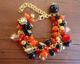 Orange, Red and Gold Bracelet/ Autumn Bracelet / Fall Wedding