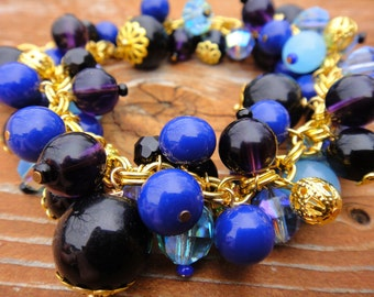 Blue, Purple and Gold Bead Bracelet/ Gift For Her/ Bridesmaid gift