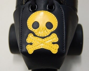Leather Toe Guards with Yellow Skulls