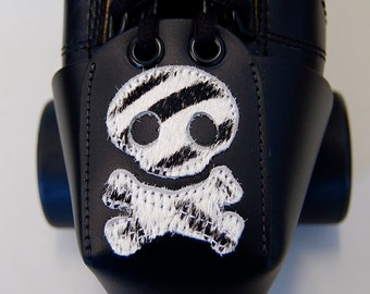 Leather Toe Guards with Zebra Skull and Crossbones