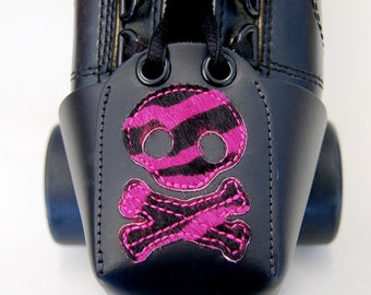 Leather Toe Guards with Pink Zebra Skull and Crossbones