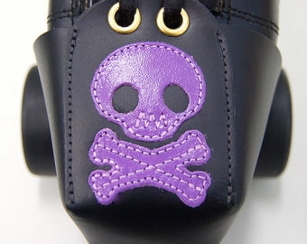 Leather Toe Guards with Purple Skulls and Crossbones
