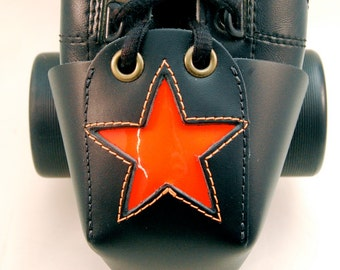 Leather Toe Guards with Neon Orange Patent Leather Star