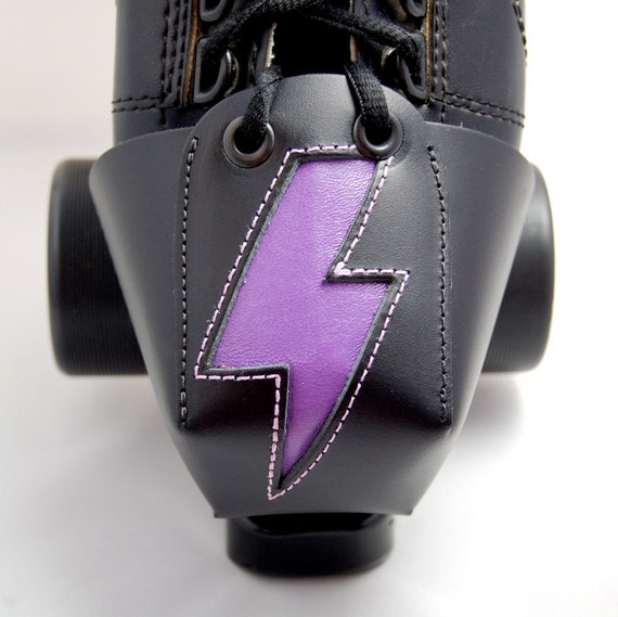 Leather Toe Guards with Purple Lightning Bolts