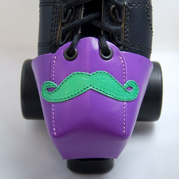 Purple Leather Toe Guards with Green Mustache