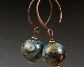 In the Garden lampwork earrings, Made in USA