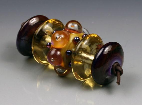 Golden Royal lampwork glass beads handmade