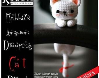 PDF Pattern - Amigurumi Drooping White Cat (HQ)
