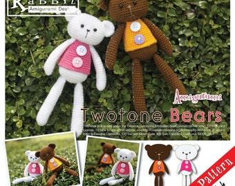 PDF Pattern - Amigurumi Two Tone Bears (Crochet Doll)