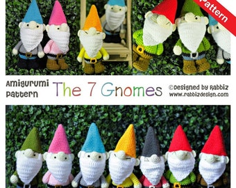 PDF Pattern - The Seven Gnomes (Seven Dwarfs)
