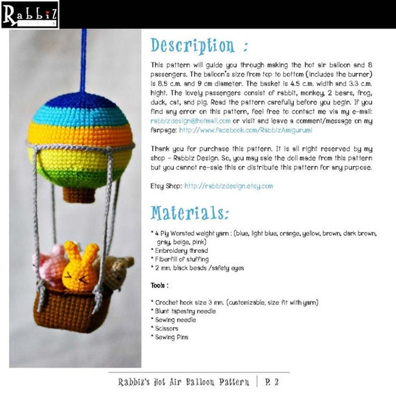 Pdf Pattern Amigurumi Hot Air Balloon With Animals From
