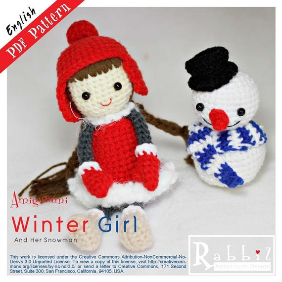 Items similar to PDF Pattern - Amigurumi Winter Girl with ...