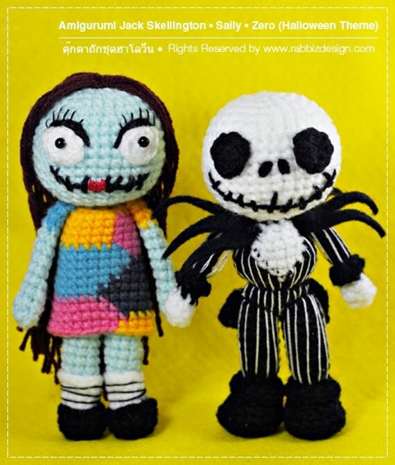 Amigurumi Jack Skellington Pattern : Amigurumi Halloween Dolls : Jack Skelington Sally Zero