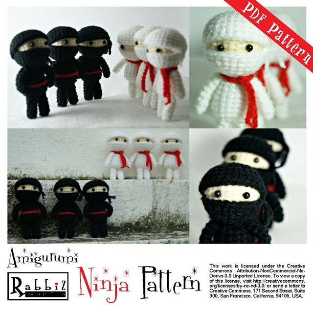 Amigurumi Ninja Kaplumbaga Yapimi : PDF Pattern Amigurumi Ninja Black and White by rabbizdesign