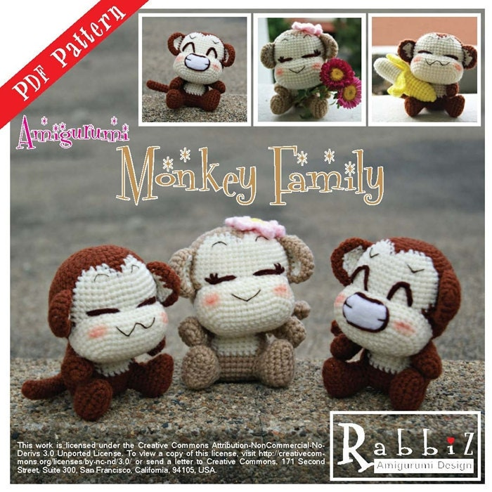 Amigurumi Monkey Etsy : PDF Pattern Amigurumi Monkey Family by rabbizdesign on Etsy