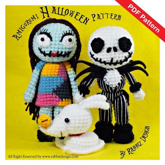 Amigurumi Kangaroo Crochet Pattern : PDF Pattern Amigurumi Halloween Set Jack Skellington