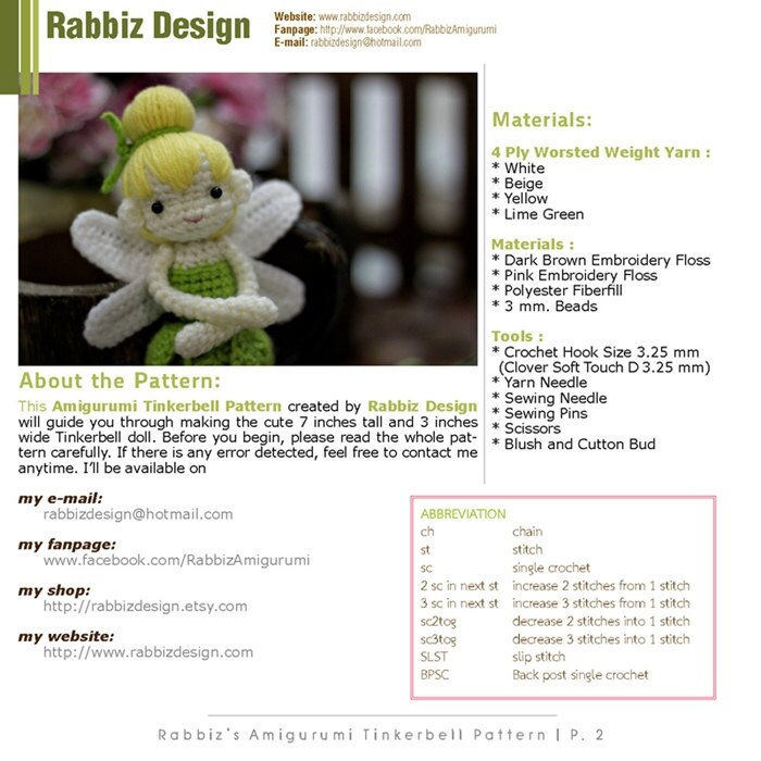 PDF Pattern Amigurumi Tinkerbell by rabbizdesign on Etsy