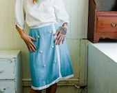 Vintage 60s French Made Sky Blue Linen Wrap Skirt with Nautical Anchor Buttons (sz 4 6)