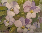 Original watercolor painting of  Mauve Violas