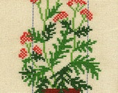 Cross stitched Curtain/Valance with Potted Plants