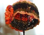 Multi yarn Tangerine Brown Beret with flower