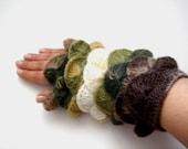 Multi color  Braun navy green yarn Fingerless Mittens Gloves No 5