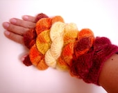 Orange Yellow Ruby color yarn Fingerless Gloves New Collection