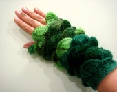 Multi color navy Olive green Emerald yarn Fingerless Mittens Gloves No 11