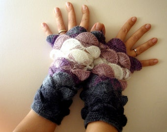 Purple Lilac Gray Grey Fingerless Gloves New Color