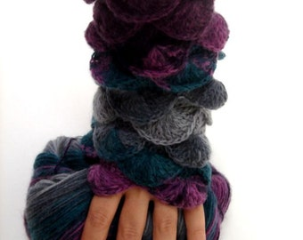 Fall Season Colors Lilac Grey Gray Teal  Fingerless Gloves Armwarmers