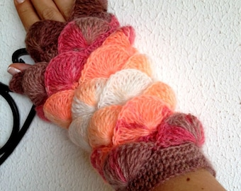 New Winter Season Colors Salmon tangerine Pink White Brown Nougat  Fingerless Gloves Armwarmers